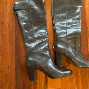 Women's knee high charcoal leather boots